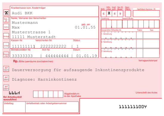 Rezeptbeispiel Inkontinenz Audi BKK