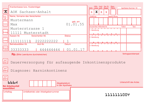 Rezeptbeispiel Inkontinenz AOK Sachsen-Anhalt