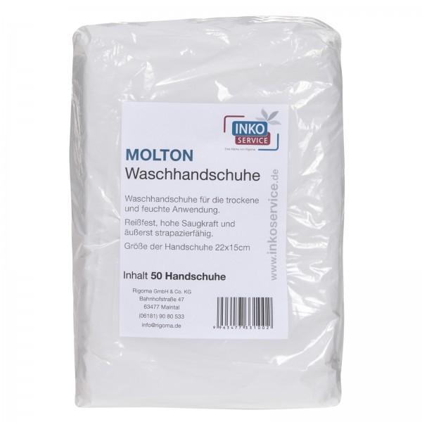 Inkoservice Molton Waschhandschuhe, 50 Stück