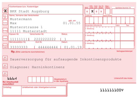 Rezeptbeispiel Inkontinenz BKK Stadt Augsburg