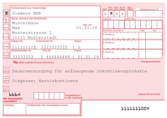 Rezeptbeispiel Inkontinenz SBK Siemens-Betriebskrankenkasse
