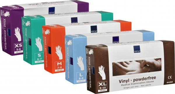 Einmalhandschuhe aus Vinyl transparent (puderfrei), 100 Stück