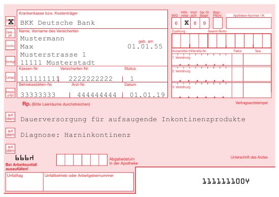 Rezeptbeispiel Inkontinenz BKK Deutsche Bank
