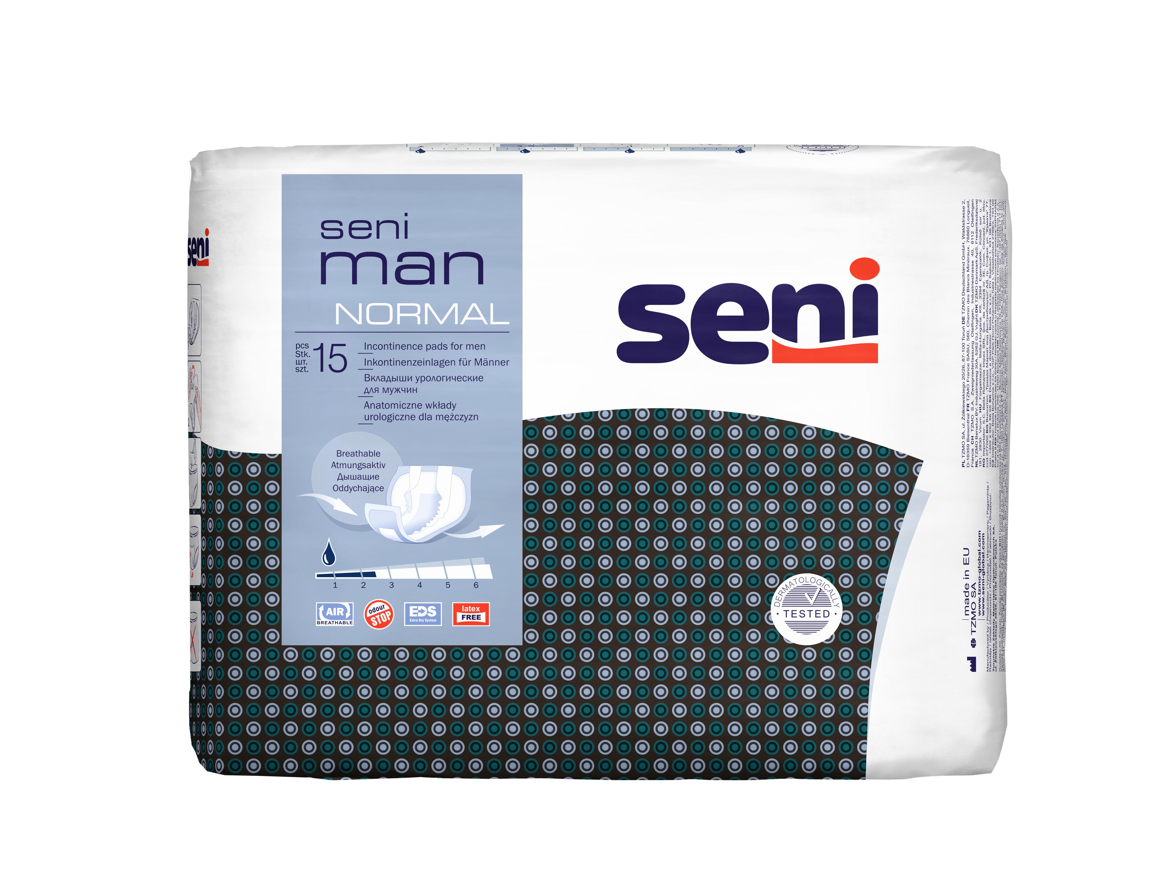 Seni Man Normal - 15 Stück - Slipeinlage für Männer   Inkoservice